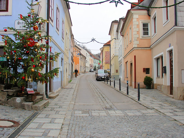 Christmas trees appeared on all the street corners throughout Melk.