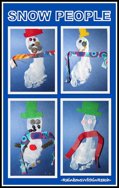 photo of: Winter Snowman Art Project with Painted Foot-print (via RainbowsWithinReach) 