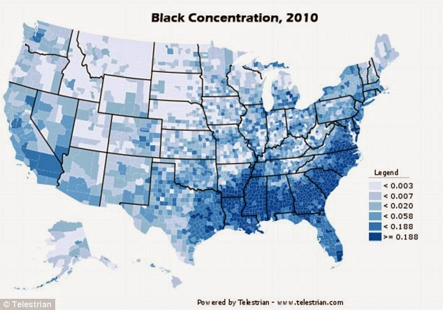 Map Of Black Population In USA Free Printable Maps - Us map dark