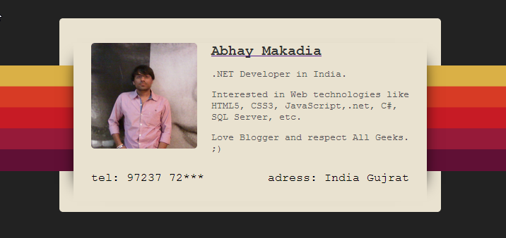 Ribbon Style User Profile Design