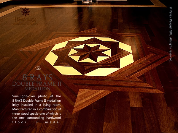 Hardwood Floor Medallion - The 8 Rays Double Frame II