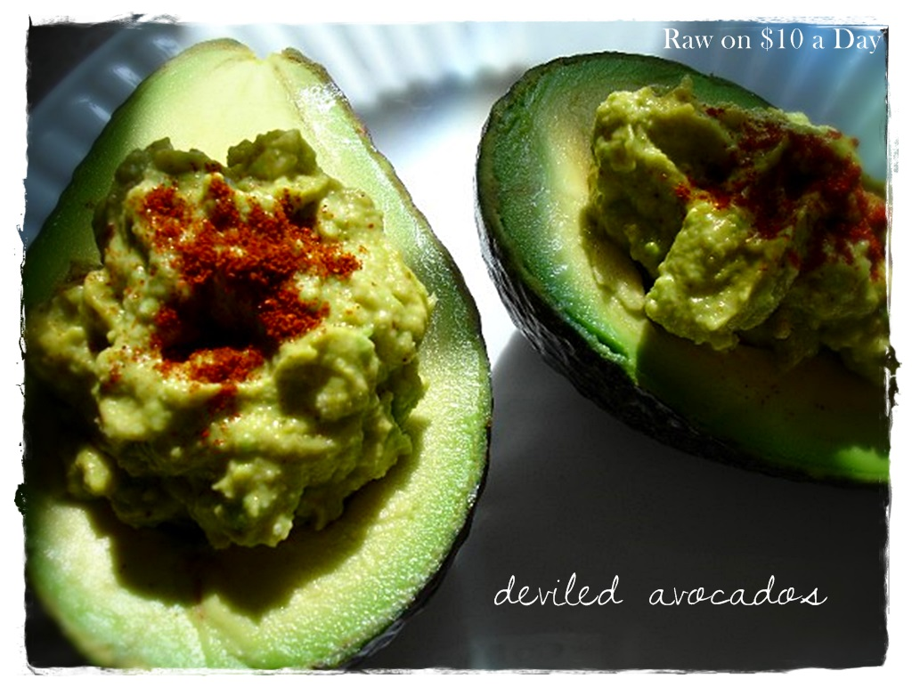 Raw on 10 a day or less june 2013 deviled avocados raw food recipe forumfinder Choice Image