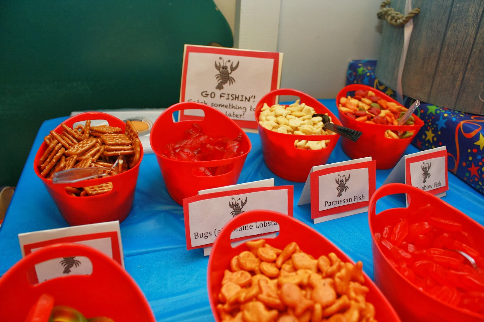 Lobster birthday party with guest blogger angela from the for Plastic fish bowls dollar tree