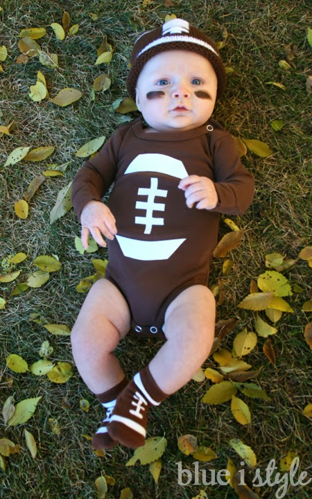 i bought a solid brown long sleeved onesie and cut the football shape out of white iron on transfer paper the key here is to make sure your transfer paper - Infant Football Halloween Costume