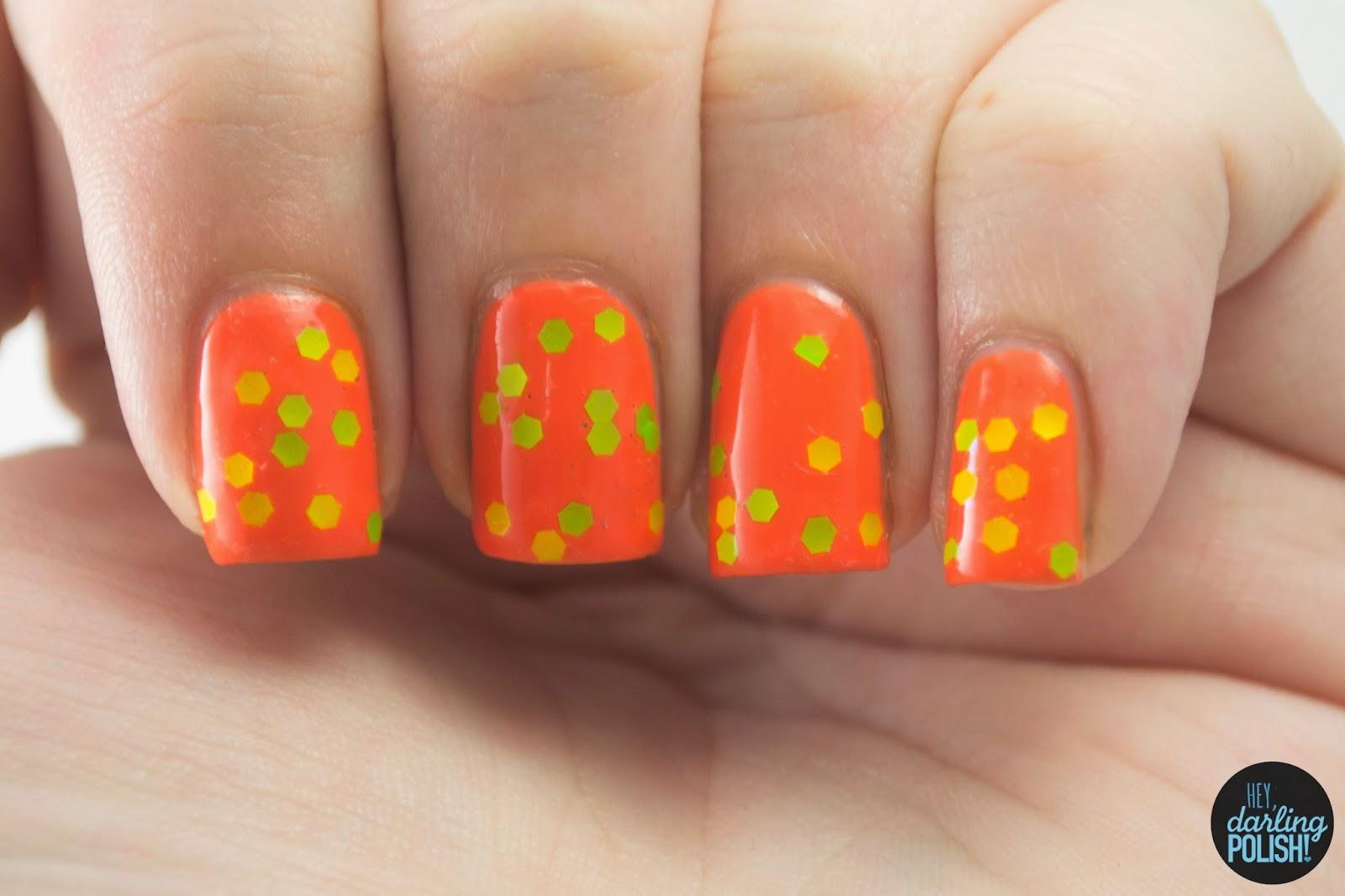 nails, nail art, nail polish, glitter, orange, shirley ann nail lacquer, mile long margarita, neon, hey darling polish
