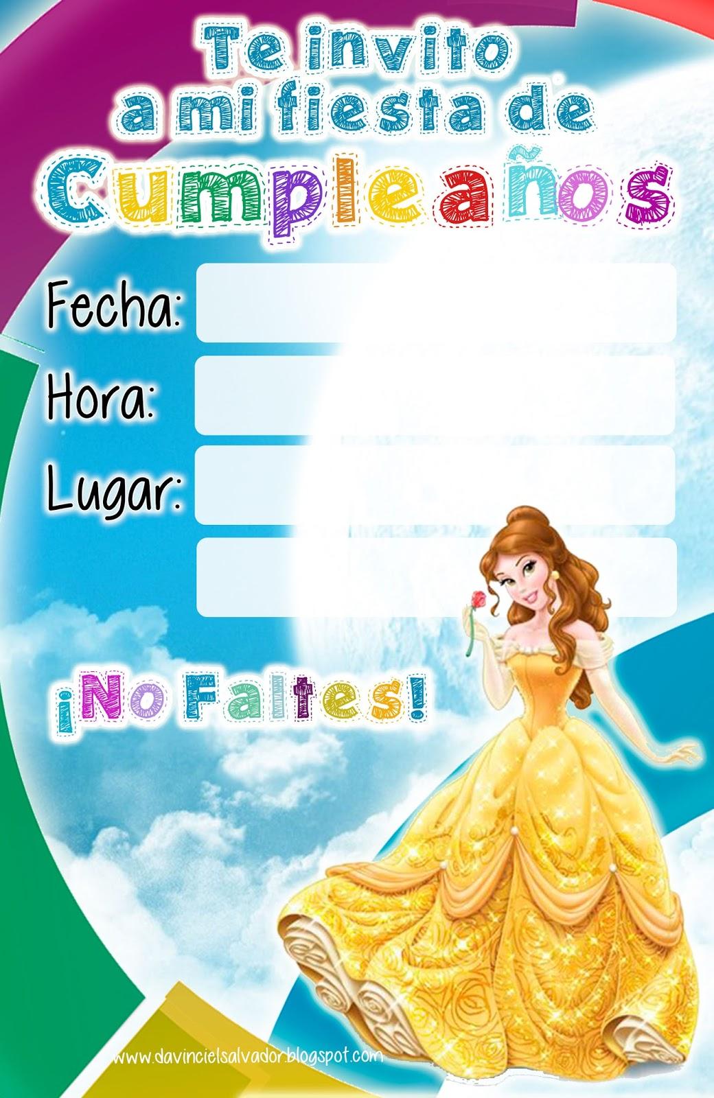 Invitación de Cumpleaños de Bella Princesas Disney