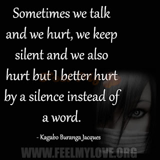 Sometimes we talk and we hurt