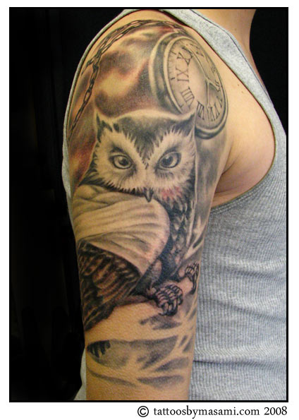 Brainsy Heart: Upper arm Owl Tattoo