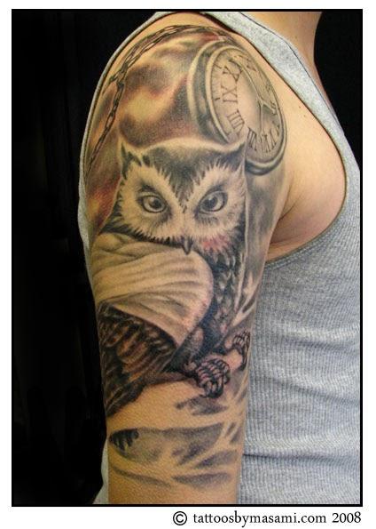 Brainsy heart upper arm owl tattoo for Upper arm tattoo