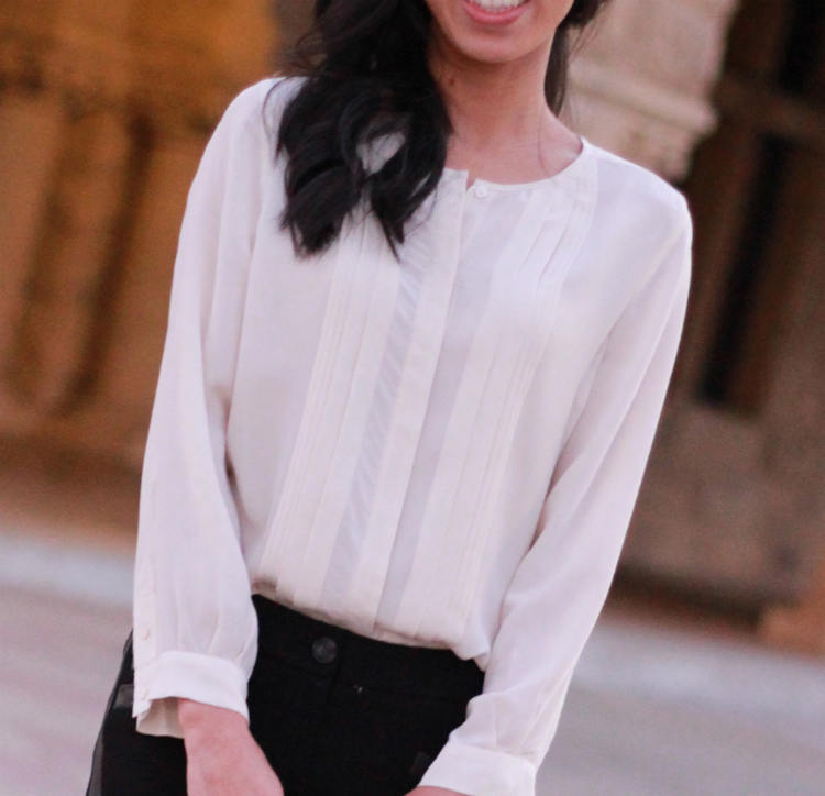 pleated silk white blouse top