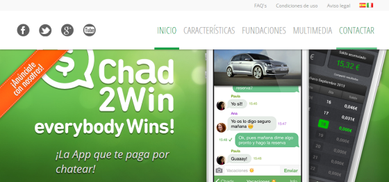 Chad2Win - Alternativa a Whatsapp con la que ganar dinero por chatear