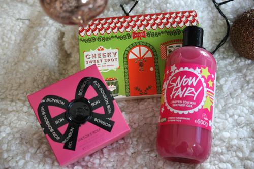 Benefit Cheeky Sweet Spot, Lush Cosmetics Snow Fairy, Viktor & Rolf Bon Bon