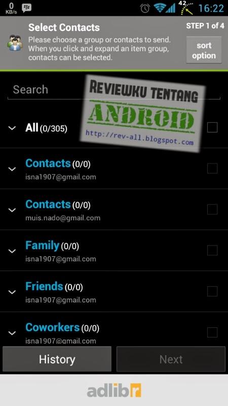 Tampilan utama aplikasi GROUP SMS - Melakukan SMS grup menjadi mudah di android (rev-all.blogspot.com)