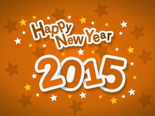 Happy New Year 2015 Wallpaper Orange text