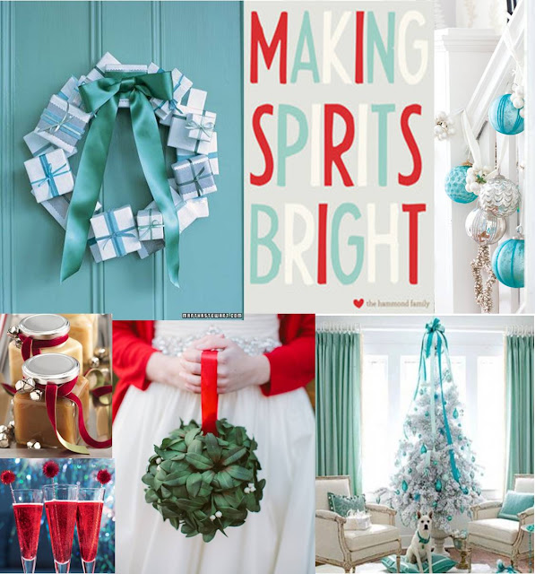 holiday inspiration board, crimson, tiffany blue, christmas