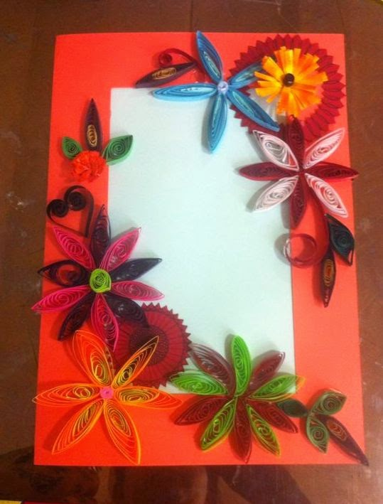 Art ,Craft ideas and bulletin boards for elementary schools: Handmade card | Quilled card ...