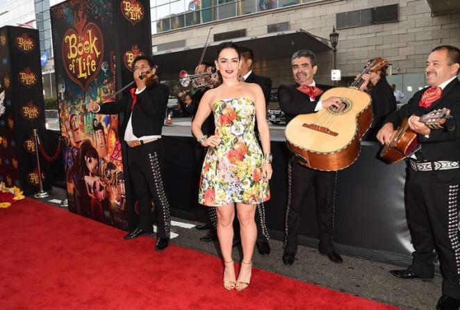 Ana de la Reguera in a strapless floral dress at 'The Book of Life' LA premiere