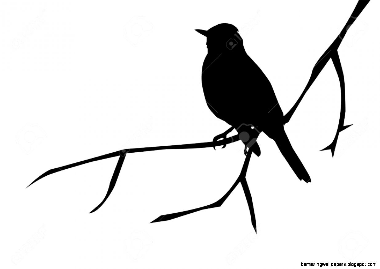 Silhouette Of A Bird On The Branch Royalty Free Cliparts Vectors