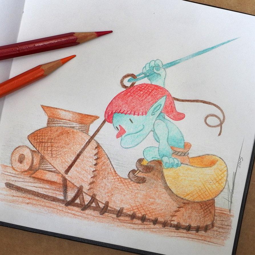Imagen de un duende zapatero del ilustrador Duques Fércalcer