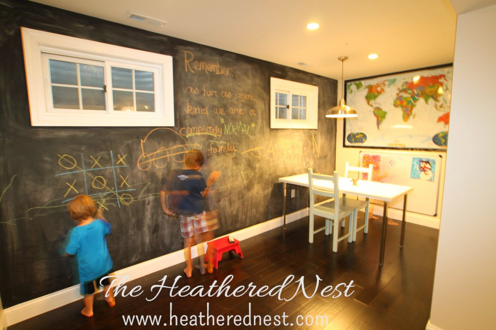Let 39 s give 39 em something to chalk about the heathered nest - Finished basement storage ideas ...