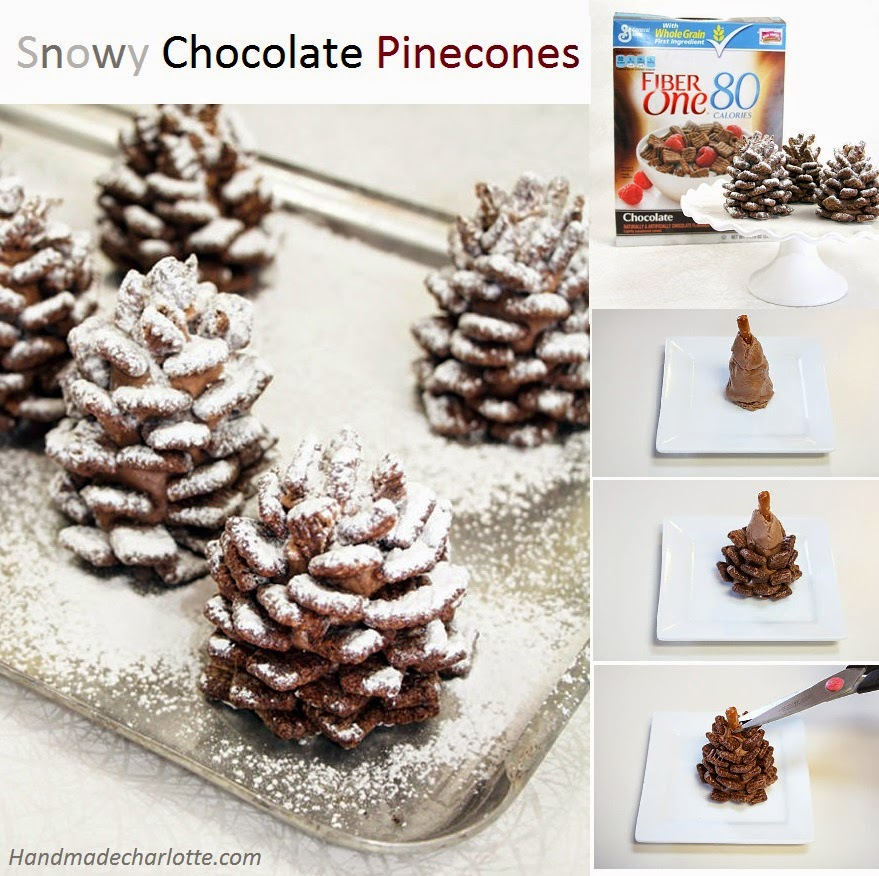 http://www.handmadecharlotte.com/recipe-snowy-pinecone-snacks/