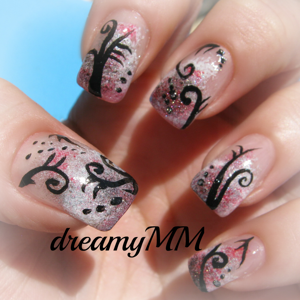 Grunge Nail Art On Pinterest: Abstract Grunge Background With Filigree Ornament Nail Art
