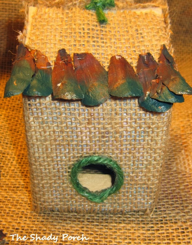 Rustic Burlap Birdhouse Ornament #ornament #handmade #craft #burlap