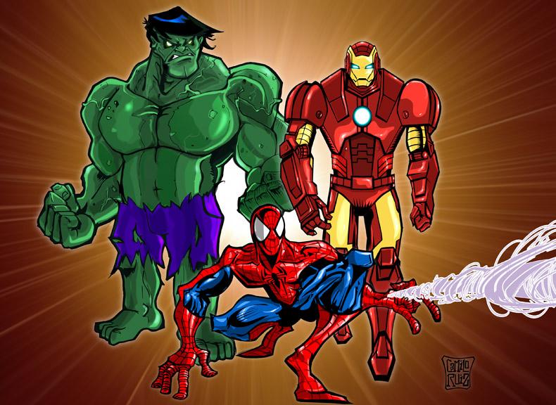 hulk ironman spiderman camilocartoons blog