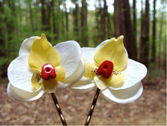 Yellow, Red, and White Orchid Bobby Pins by ChatterBlossom