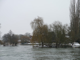 The Weir at Pangbourne on the Thames Path in January