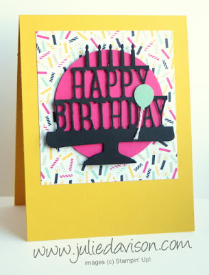 Stampin' Up! Party Pop-Up Dies Birthday Card for GDP018 #stampinup www.juliedavison.com