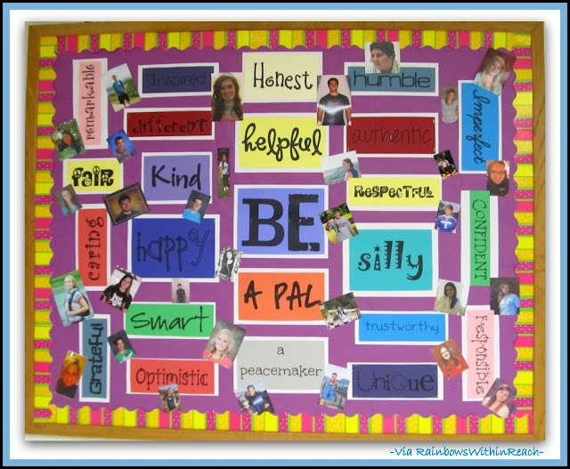 photo of: Bulletin Board for Character Development via RainbowsWithinReach