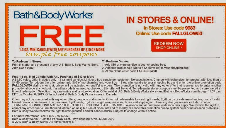 bath and body works coupons october 2014