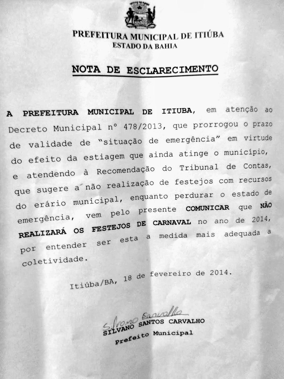 PREFEITURA MUNICIPAL DE ITIÚBA - BA, NÃO VAI REALIZAR CARNAVAL!