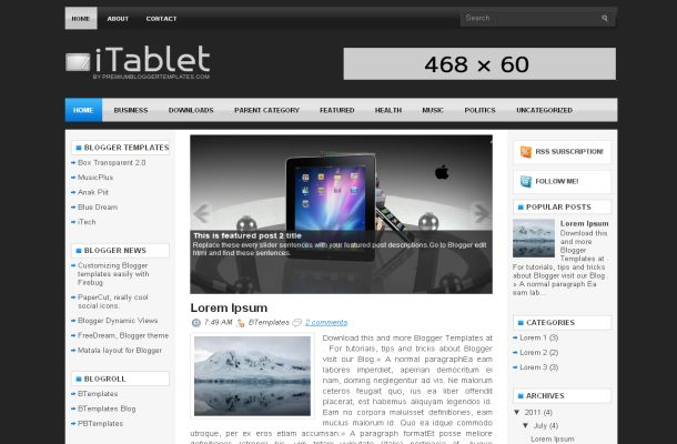 Dark Black Tablet Jquery Blogger Theme Template