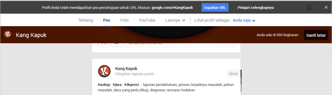 Mengganti URL Khusus Google+ dengan Nama Kita