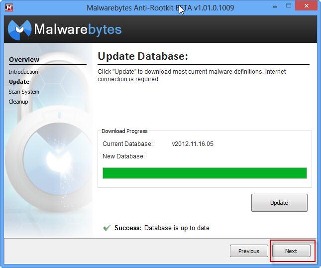 Aggiornamento completato premi Next - Malwarebytes Anti-Rootkit