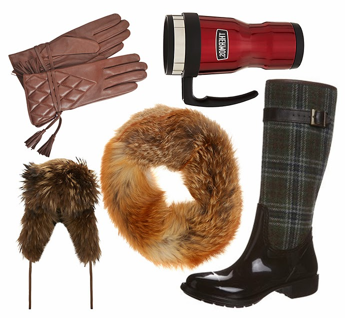 Wishlist for a snow day featuring agnelle short quilted gloves, harrods raccoon trooper hat, Inès & Maréchal  Fox fur snood, Thermos vintage travel mug and Living Kitzbühel Wellies