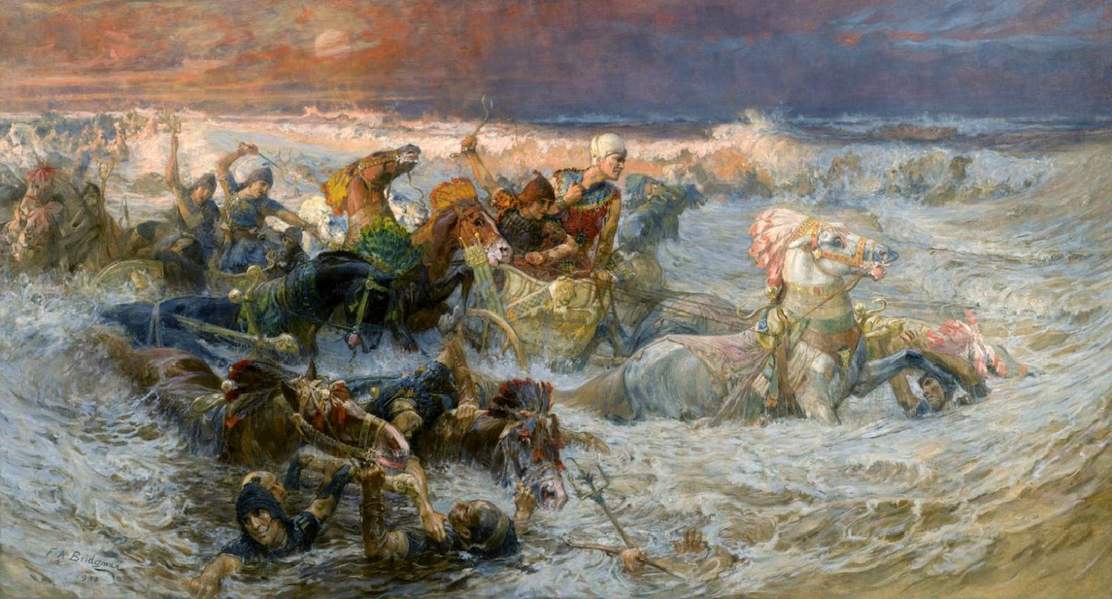 Frederick+Arthur+Bridgman+-+Pharaoh's+Army+Engulfed+by+the+Red+Sea