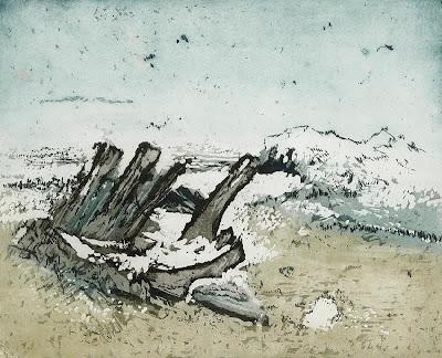 Otto Niemeyer-Holstein - Angeschwemmtes Wrack, Radierung, Aquatinta, 1965, 321 x 395