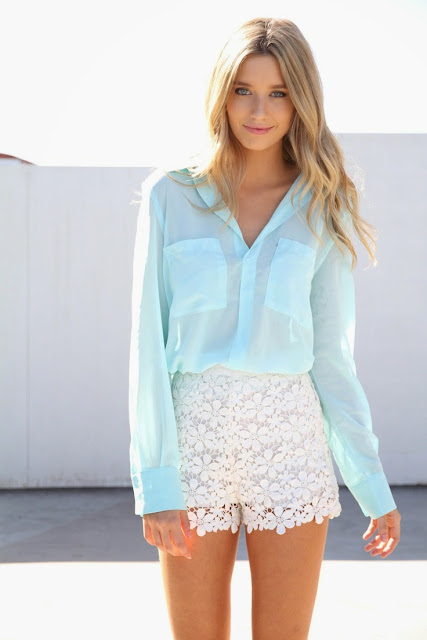Look tons pastel tendencia primavera verão 2015 calções renda