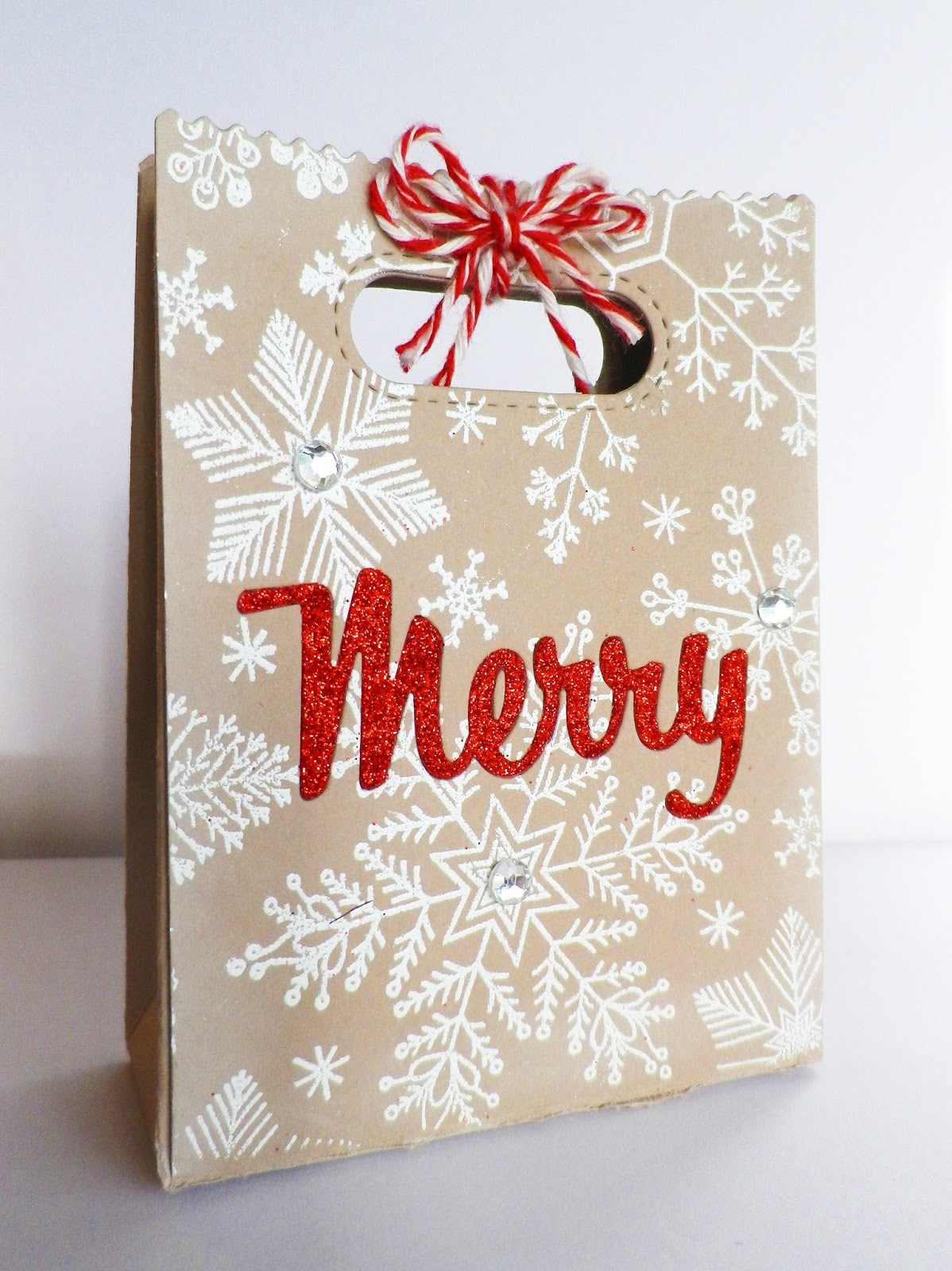 Stamping And Stitching Snowflake Card And Bag
