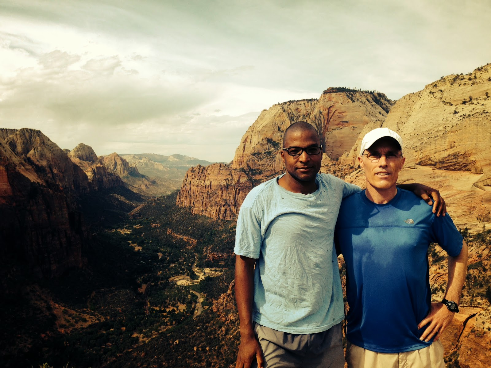 Me (wrinkled, weirdly folded shirt) and My Oldest Friend (since age 6) on Angel's Landing in Zion National Park this Week