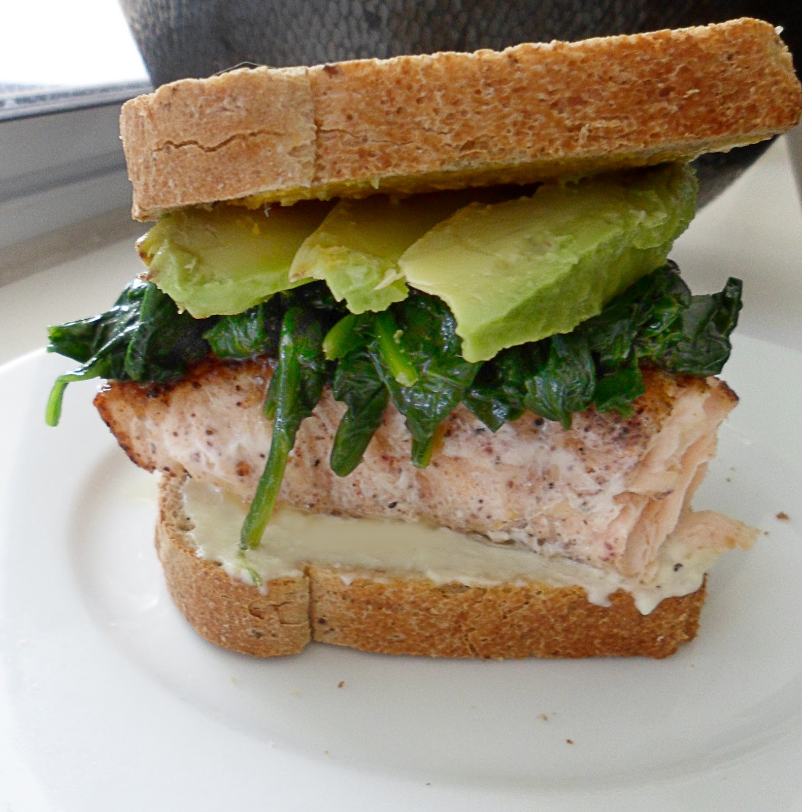 The Tomato Snob: Blackened salmon sandwich with avocado and wilted ...