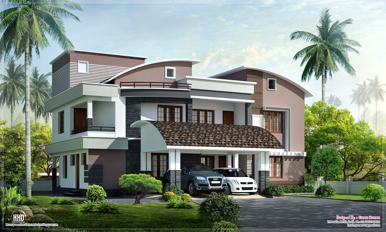 Modern style luxury villa exterior design kerala home for Villa style homes