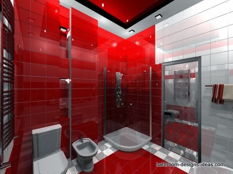 Funky bathroom ideas bathroom showers for Red and gray bathroom sets