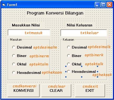 Aplikasi Konversi Bilangan, Biner, Desimal, Oktal, Hexadesimal, Heksadesimal, dengan Visual Basic, VB, 6, Form, and more
