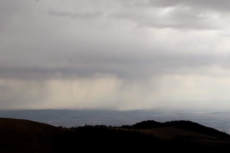 rain moving into Devil's Canyon, Bighorn Mountains, WY