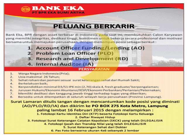 Lowongan Kerja BANK EKA Terbaru 2015
