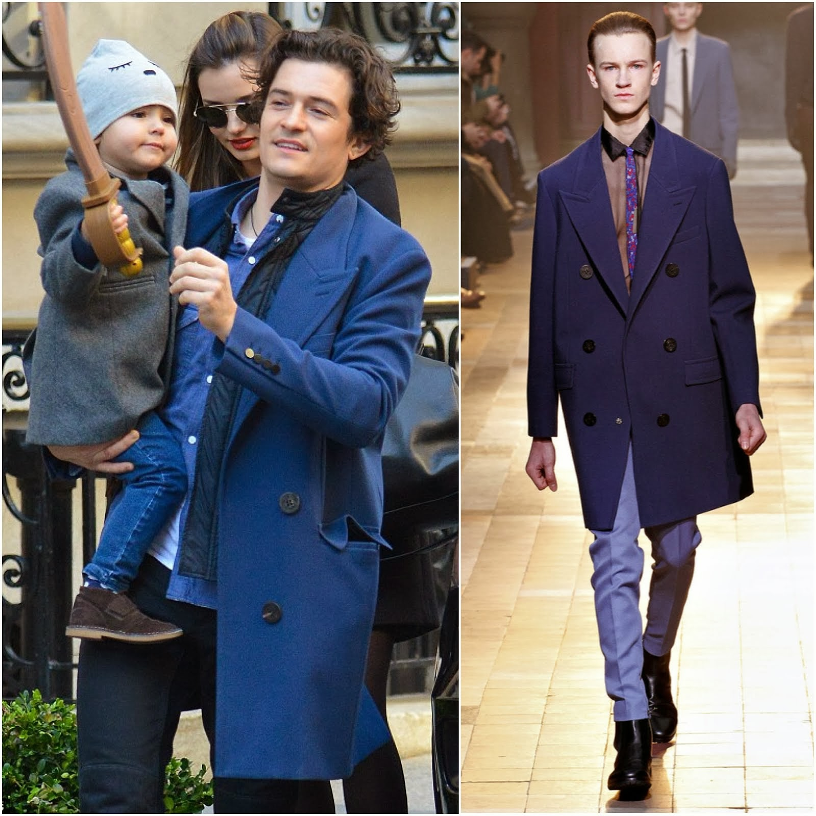 Orlando Bloom in Lanvin blue wool coat - New York Street Style
